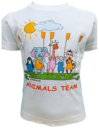 "Kinder T Shirt ""Animal Team"", weiss"